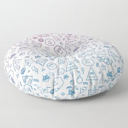 Cute & Sweet Monsters / Funny Clouds and Diamonds Floor Pillow