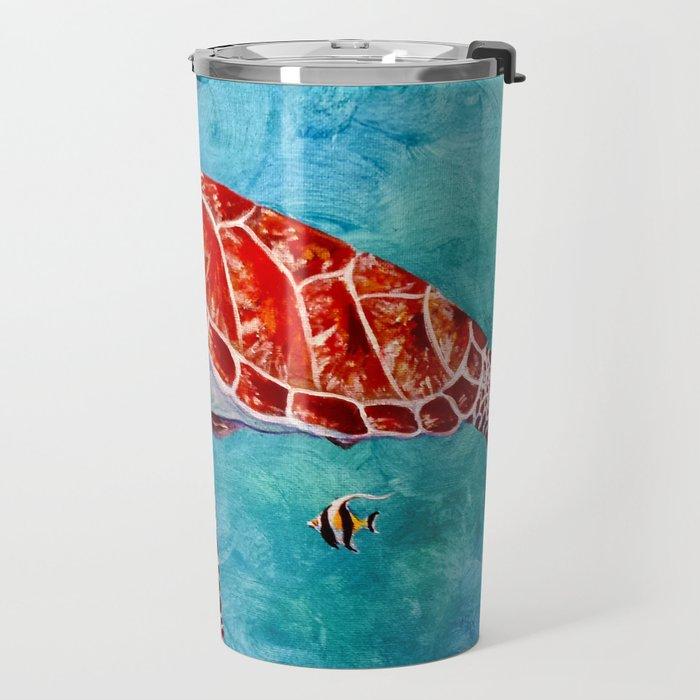 Sea turtle and friend Travel Mug