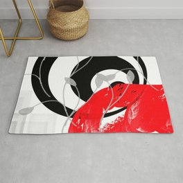 red wave abstract geometric digital art Rug