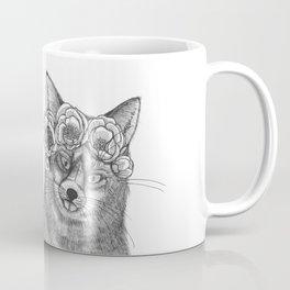 vixen fox wearing a crown of peonies Coffee Mug