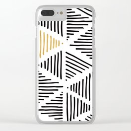Simple Geometric Zig Zag Pattern - Black Gold White - Mix & Match with Simplicity of life Clear iPhone Case