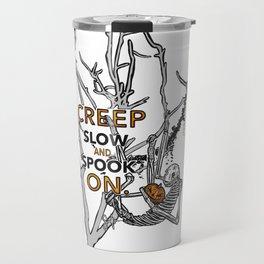 """Halloween sloth """"creep slow and spook on."""" Tree Travel Mug"""