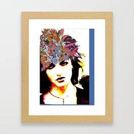 Her Blue Hat Framed Art Print
