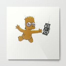 swimming Bart Metal Print