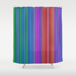 Abstract rainbow dots and lines Shower Curtain