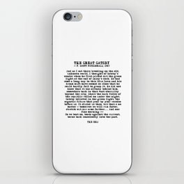 Ending of The Great Gatsby - Fitzgerald quote iPhone Skin