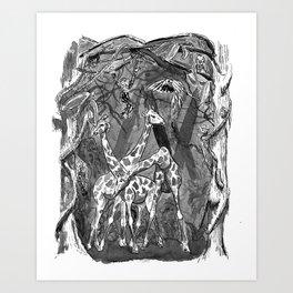 Ink illustration giraffes in the jungle Art Print