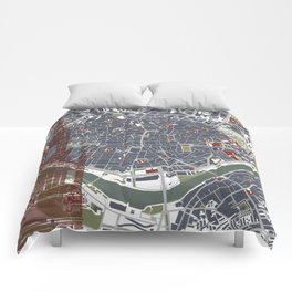 Seville city map engraving Comforters