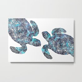 Sea Turtle Blue Watercolor Art Metal Print