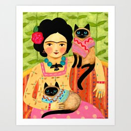 Woman with siamese cats Mexican folk art painting by TASCHA Art Print