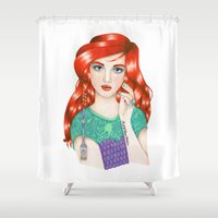 ariel Shower Curtains featuring Ariel by Natasha Hutton