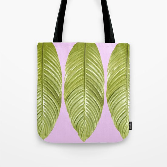 Three large green leaves on a pink background - vivid colors Tote Bag