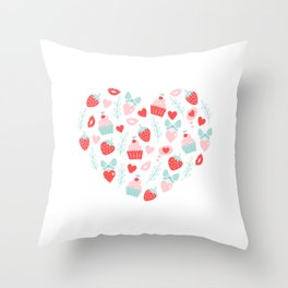 Valentines Day Heart #5 - Cupcakes and Strawberries Throw Pillow