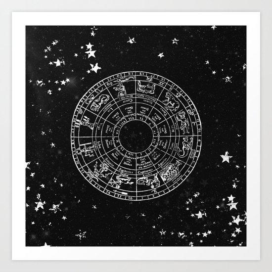 Black and White Vintage Star Map Art Print
