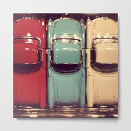 Vintage classic toy cars. Red Blue Beige. Retro style. Metal Print