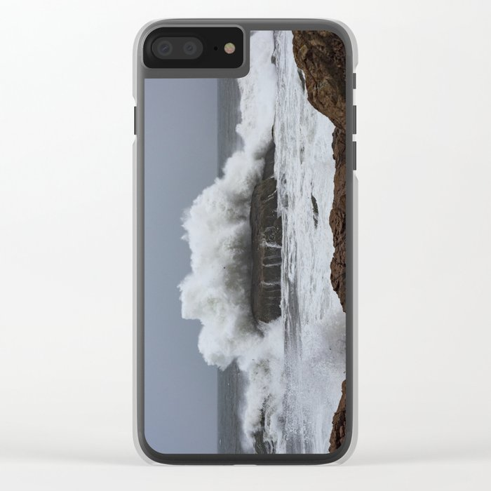 Wave splashing on the rocks Clear iPhone Case