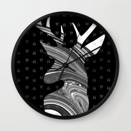 Black and White Deer Abstract Design Wall Clock