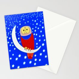Owl lands on the moon Stationery Cards
