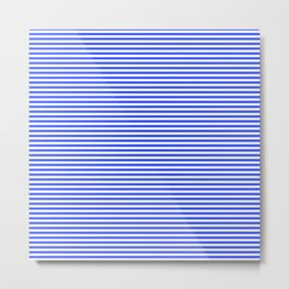 Even Horizontal Stripes, Blue and White, XS Metal Print