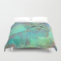 yorkie Duvet Covers featuring Dog Illustration ; Yorkie by bialy kot art