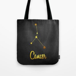 Cancer Zodiac Constellation in Gold Tote Bag