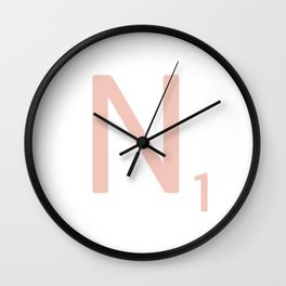 Pink Scrabble Letter N - Scrabble Tile Art and Accessories Wall Clock