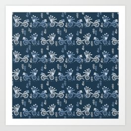 Bicycles spring cute navy pattern bike print by andrea lauren Art Print