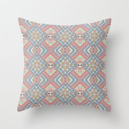 Coral Waves Geometric Throw Pillow