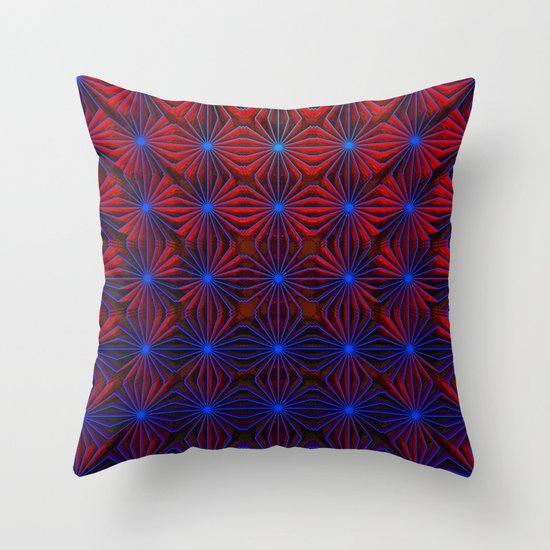 Complexities in Blue and Red Throw Pillow