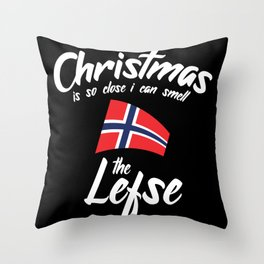 Christmas Is So Close I Can Smell The Lefse Throw Pillow
