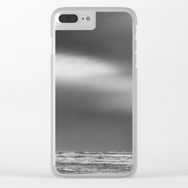 Black White Beach Storm Clear iPhone Case