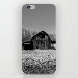 Days Gone By - Old Arkansas Barn in Black and White iPhone Skin
