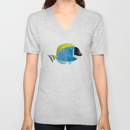 Geometric Abstract Powder Blue Tang Fish Unisex V-Neck