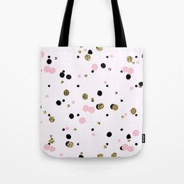 Pink Black Gold Party Dots Tote Bag