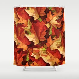 Autumn Leaves Abstract - Painterly Shower Curtain