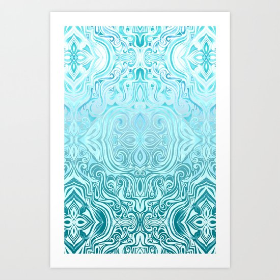 Twists & Turns in Turquoise & Teal Art Print