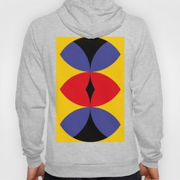 Yellow Wall. Three eye shaped windows. Apocaliptic background. Red Snake eye and two roads. Hoody