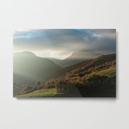 Beautiful autumn sunset near the Monti San Vicino and Canfaito park, Italy Metal Print