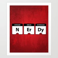 periodic table Art Prints featuring Nerdy Periodic Table by EnvyArt