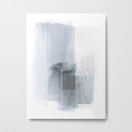 Blue Grey Minimalist Abstract Painting Metal Print