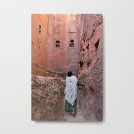Ethiopia Lalibela christian orthodox christmas pilgrim woman gazing up red wall church Metal Print