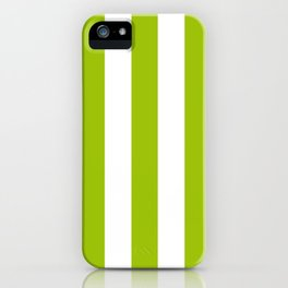 Limerick green - solid color - white vertical lines pattern iPhone Case
