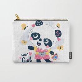 Cute cartoon panda girl wearing dress Carry-All Pouch