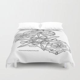 Vermont Zentangle Snow Flakes Illustration Duvet Cover