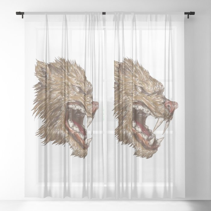 Head with sharp teeth Sheer Curtain