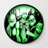 ninja turtles Wall Clocks featuring  Ninja Turtles by shannon's art space