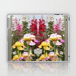 YELLOW  & GREY IRIS HOLLYHOCK FLOWER GARDEN DESIGN Laptop & iPad Skin