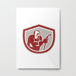 Welder Worker Holding Welding Torch Shield Retro  Metal Print
