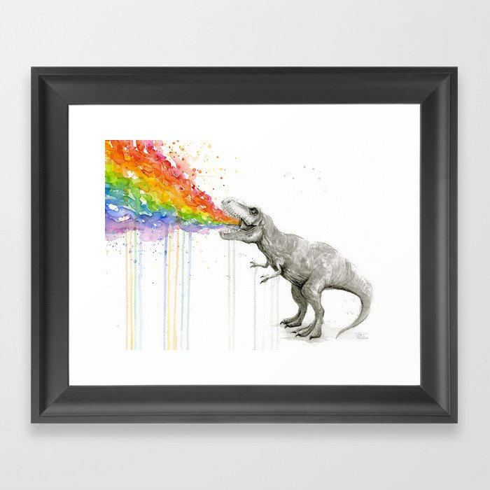 T-Rex Dinosaur Rainbow Puke Taste the Rainbow Watercolor Gerahmter Kunstdruck