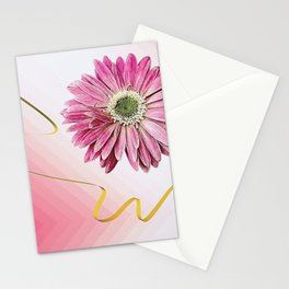 pink gerbera daisy with ribbon Stationery Cards